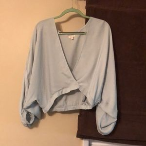 Urban Outfitters - light blue surplice top